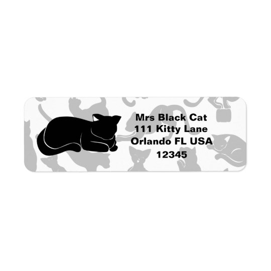 Black Cat Pattern Return Address Label