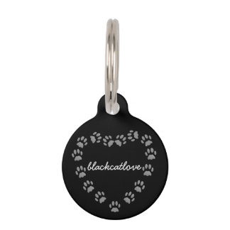 Black Cat Paw Print Heart Identification Name Tag