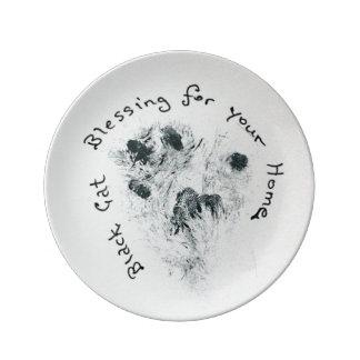 Black Cat Paw Print Home Blessing Decorative Plate Porcelain Plates