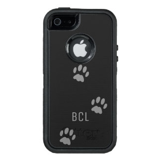 Black Cat Paw Print OtterBox Defender Personalised OtterBox iPhone 5/5s/SE Case
