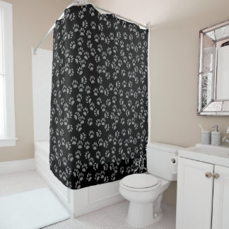 Black Cat Paw Print Pattern Shower Curtain