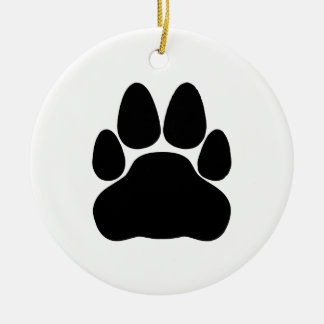 Black Cat Paw Print Shape Double-Sided Ceramic Round Christmas Ornament