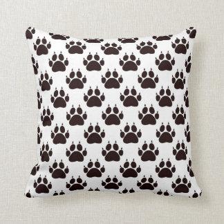 Black Cat Paw Prints Cushion