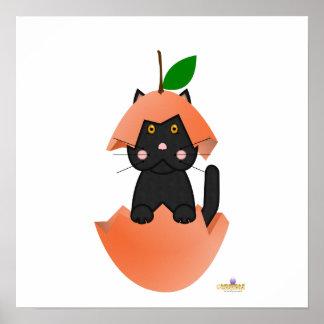 Black Cat Peach Posters