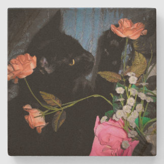 Black Cat Picks a Rose Stone Coaster