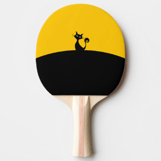 Black Cat Ping Pong Paddle, Red Rubber Back Ping Pong Paddle