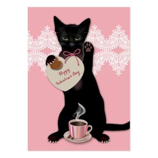 Black Cat Pink Valentine Pack Large Business Cards (Pack Of 100)