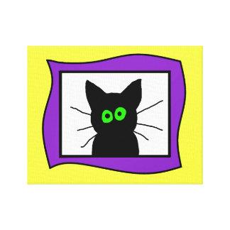 Black Cat Portrait Canvas Prints