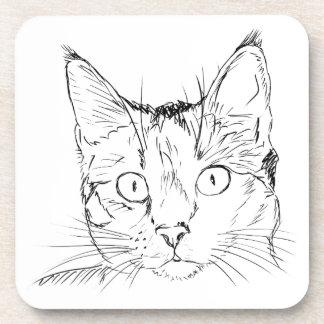Black Cat Portrait Sketch Beverage Coasters