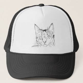 Black Cat Portrait Sketch Trucker Hat