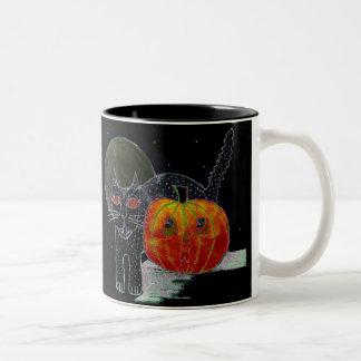 black cat pumpkin and moon mug