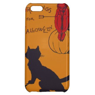 Black Cat Pumpkin Devil Demon Pitchfork iPhone 5C Covers