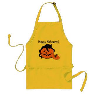 Black Cat Pumpkin Happy Halloween Apron