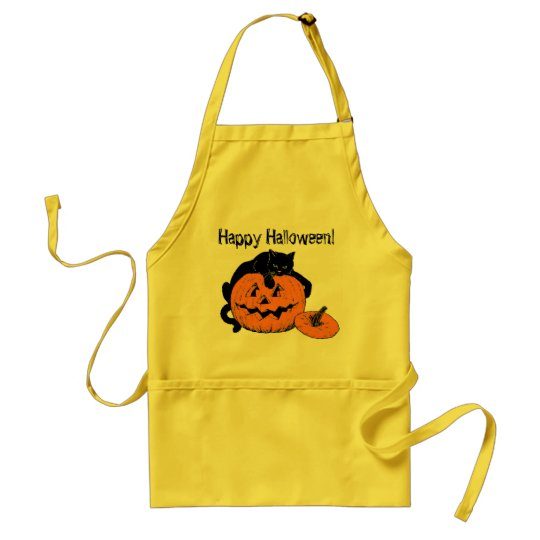 Black Cat Pumpkin Happy Halloween Apron