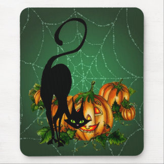 BLACK CAT PUMPKIN PATCH & JACK by SHARON Mouse Pad