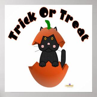 Black Cat Pumpkin Trick Or Treat Posters
