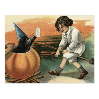Black Cat Pumpkin Witch's Hat Broom Letter Postcard