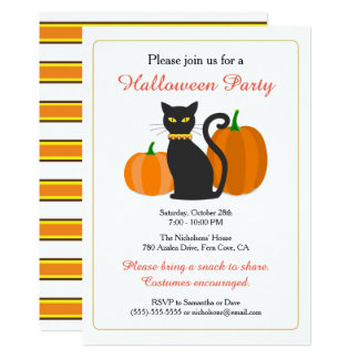 Black Cat & Pumpkins Halloween Party Card