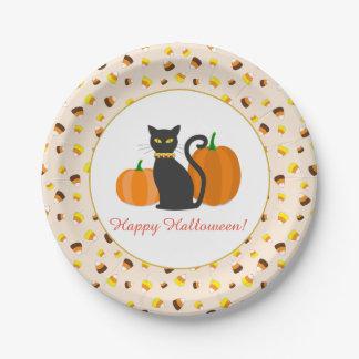 Black Cat & Pumpkins Halloween Party Custom Text Paper Plate