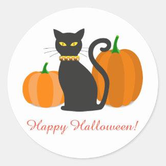 Black Cat & Pumpkins Halloween Round Sticker