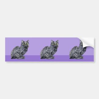 Black Cat purple cutout Sticker Bumper Sticker