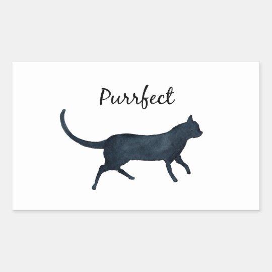 "Black cat ""purrfect"" rectangular sticker"