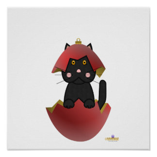 Black Cat Red Christmas Ornament Posters
