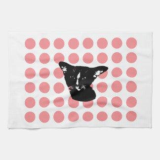 Black Cat -red dots  Kitchen Towel