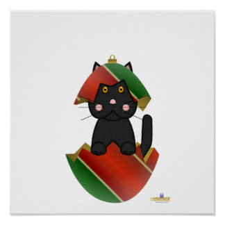 Black Cat Red Green Christmas Ornament Poster
