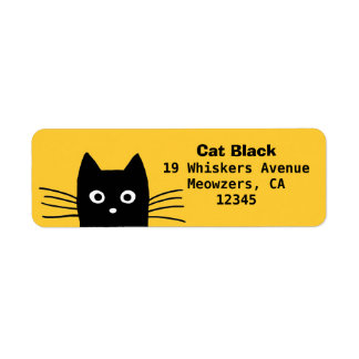 Black Cat Return Address Label