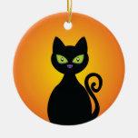 Black Cat Round Ceramic Decoration