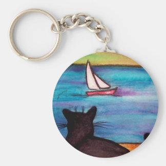 Black Cat Sailboat Watch Key Ring