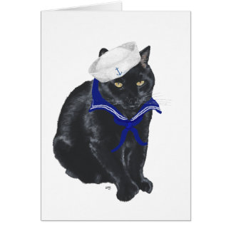 Black Cat Sailor Greeting Card