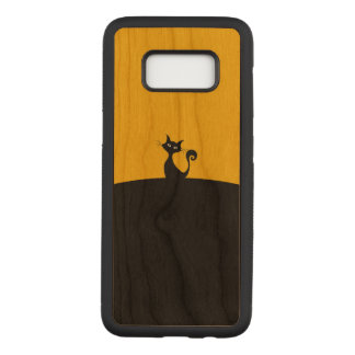 Black Cat Samsung Galaxy S8 Slim Cherry Wood Case