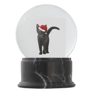 Black Cat Santa Snow Globes