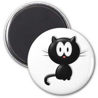 Black Cat Scardy Cat Halloween Gift 6 Cm Round Magnet
