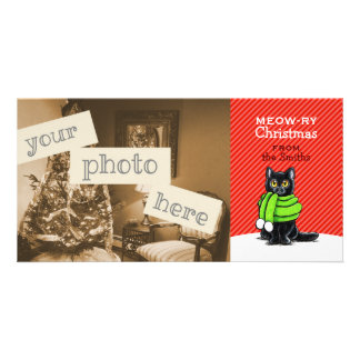 Black Cat Scarf Christmas Red Stripe Personalised Photo Card