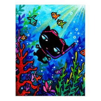 Black Cat Scuba Dive Fish Marine Art Postcard