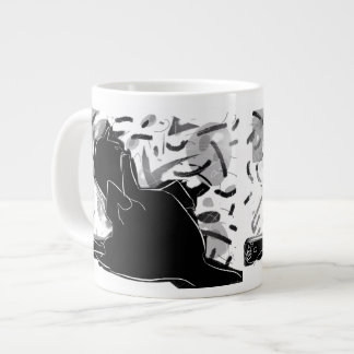 black cat shows you his foot. jumbo mug