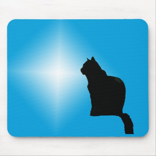 Black cat silhouette and star mouse pad