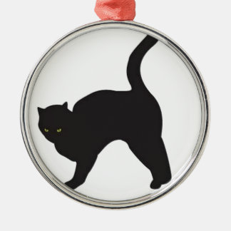 Black cat silhouette christmas ornament