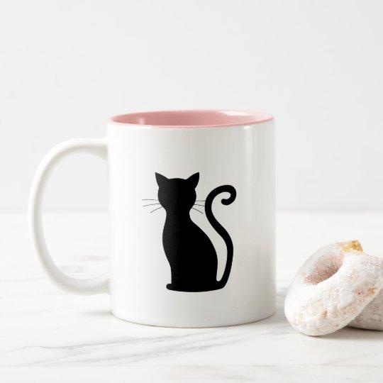 Black Cat Silhouette Cute Coffee Mug