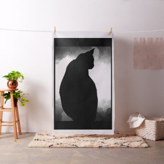Black Cat Silhouette  Fabric