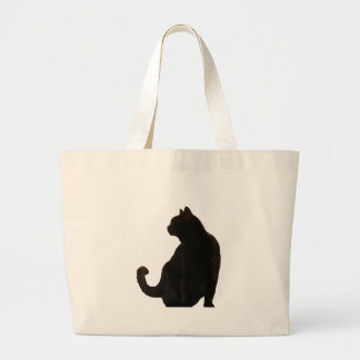 Black Cat Silhouette Large Tote Bag