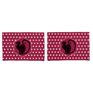 Black Cat Silhouette on Pink White Dots Pattern Pillowcase