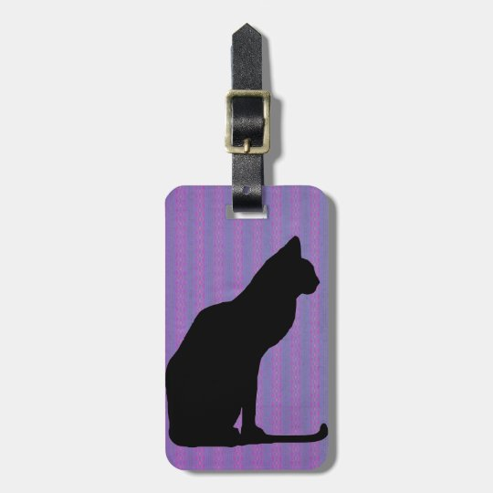 Black Cat Silhouette on Purple Stripes Luggage Tag