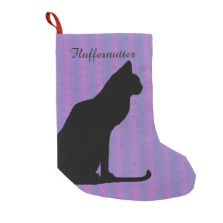 Black Cat Silhouette on Purple Stripes Small Christmas Stocking