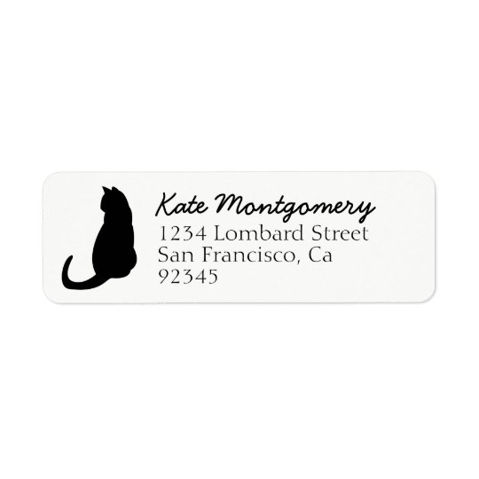 Black Cat Silhouette White Return Address Label