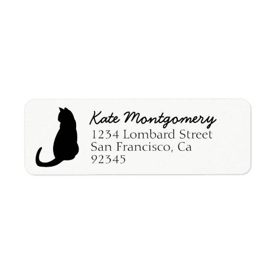 Black Cat Silhouette White Return Address Labels