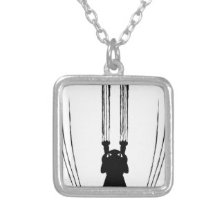 Black Cat Silhouette with Scratches Square Pendant Necklace